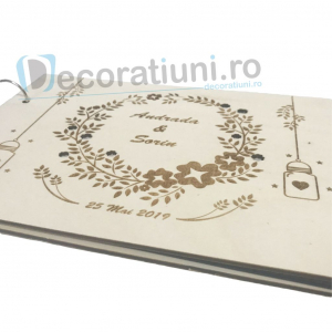 Guestbook din lemn personalizat, guestbook nunta - model ramura cu flori si candele agatate3