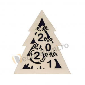 Cutie din lemn pentru cadou de Craciun - model bradut0