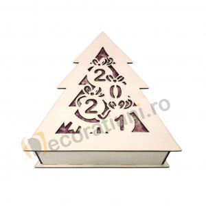 Cutie din lemn pentru cadou de Craciun - model bradut2