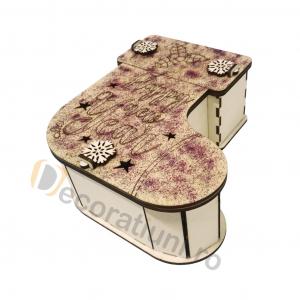 Cutie cadou din lemn - model ciorap0