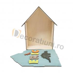 Cutie din lemn pentru cadouri - model casa [4]