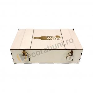 Cutie din lemn pentru 2 sticle de vin - model lada4