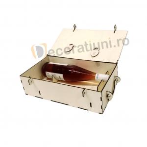 Cutie din lemn pentru 2 sticle de vin - model lada6