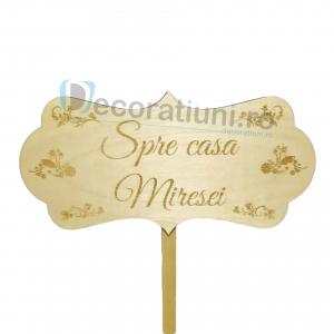 Panou decorativ din lemn pentru nunta - model Spre casa Miresei1
