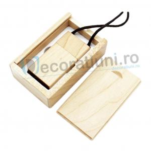 Stick usb cu snur si cutie personalizata - lemn artar0