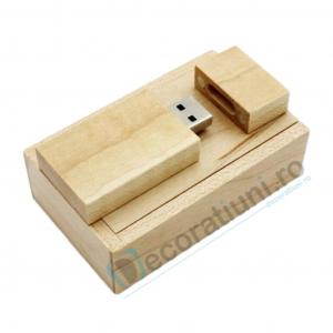 Stick usb personalizat blanko si cutie - lemn artar0