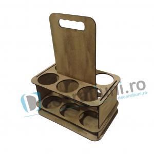 Suport din lemn cu maner pentru 6 sticle [3]