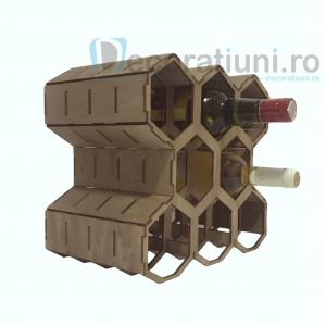Suport pentru sticle de vin din lemn - model fagure1