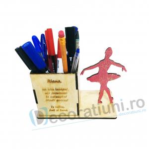 Suport pixuri din lemn pentru copii - model Ballerina Box0