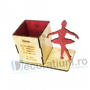 Suport pixuri din lemn pentru copii - model Ballerina Box1
