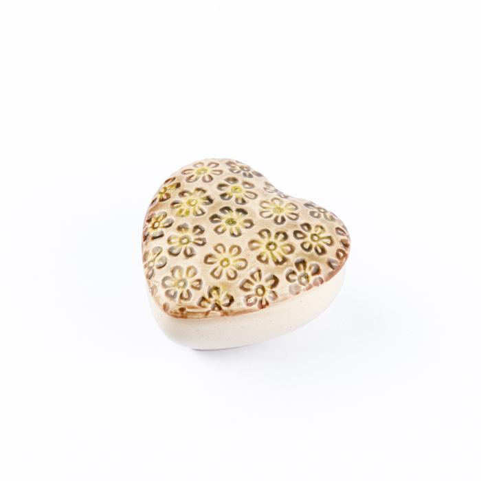 Cutiuță bijuterii din ceramică, inimă crem, detalii florale [2]