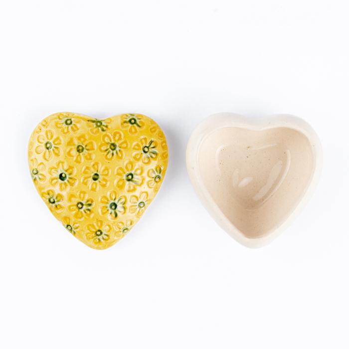 Cutiuță bijuterii din ceramică, inimă galbenă, detalii florale [2]