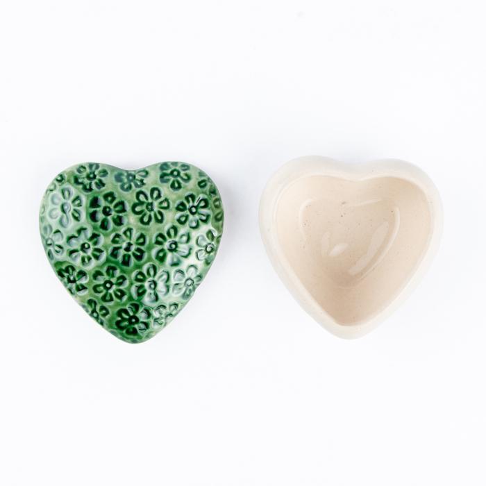 Cutiuță bijuterii din ceramică, inimă verde, detalii florale [2]