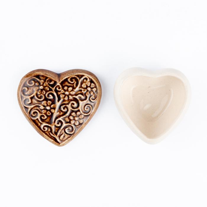 Cutiuță bijuterii din ceramică, inimă maro, detalii florale [3]