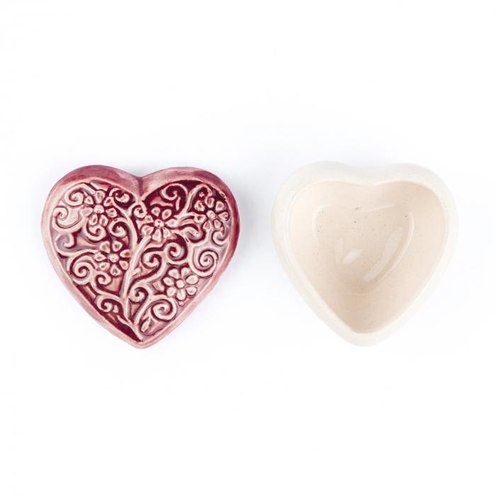 Cutiuță bijuterii din ceramică, inimă vișinie, detalii florale [2]
