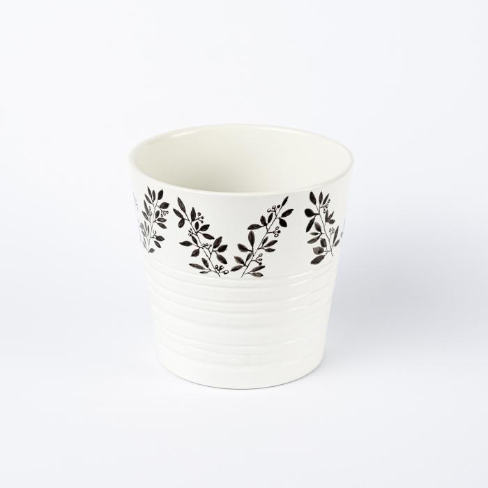 Ghiveci ceramică pictat manual, ilustrație vegetală [1]
