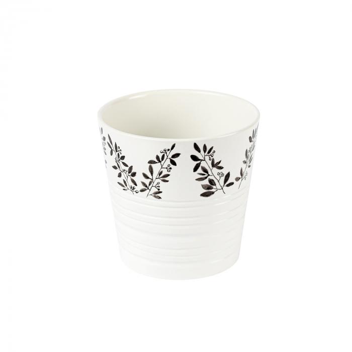 Ghiveci ceramică pictat manual, ilustrație vegetală [0]