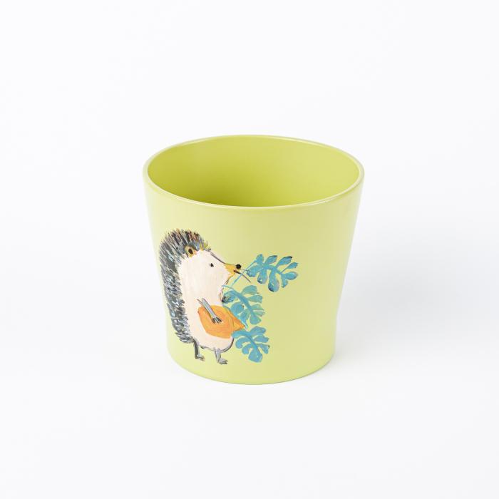 Ghiveci ceramică pictat manual, ilustrație arici [1]