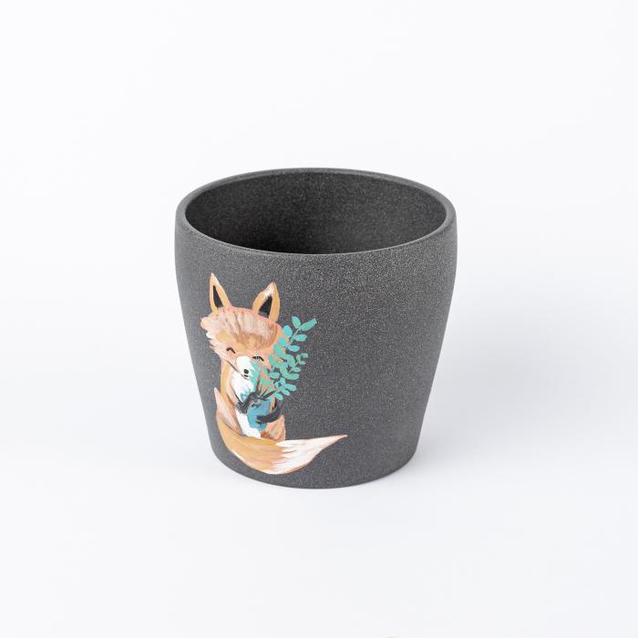 Ghiveci ceramică pictat manual, ilustrație vulpe [1]