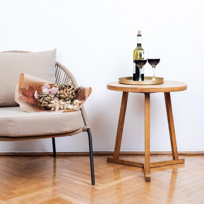 Măsuță de cafea rotundă, lemn masiv de brad [5]
