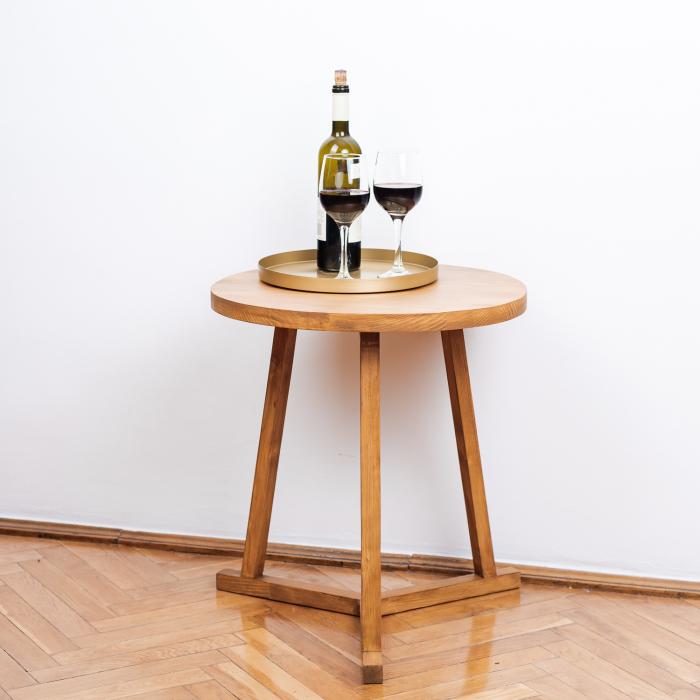 Măsuță de cafea rotundă, lemn masiv de brad [4]