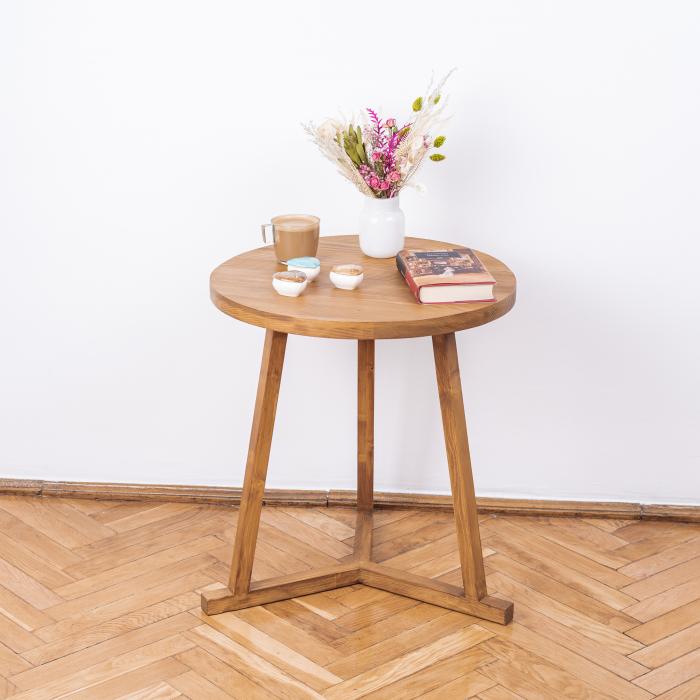 Măsuță de cafea rotundă, lemn masiv de brad [2]