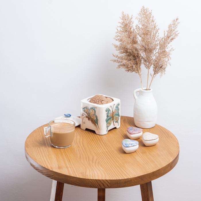 Măsuță de cafea rotundă, lemn masiv de brad [3]