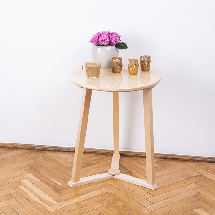 Măsuță de cafea rotundă, lemn masiv de pin [2]