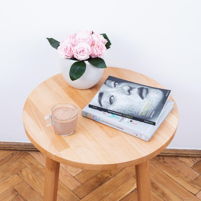 Măsuță de cafea cu blat rotund, lemn masiv de fag [4]