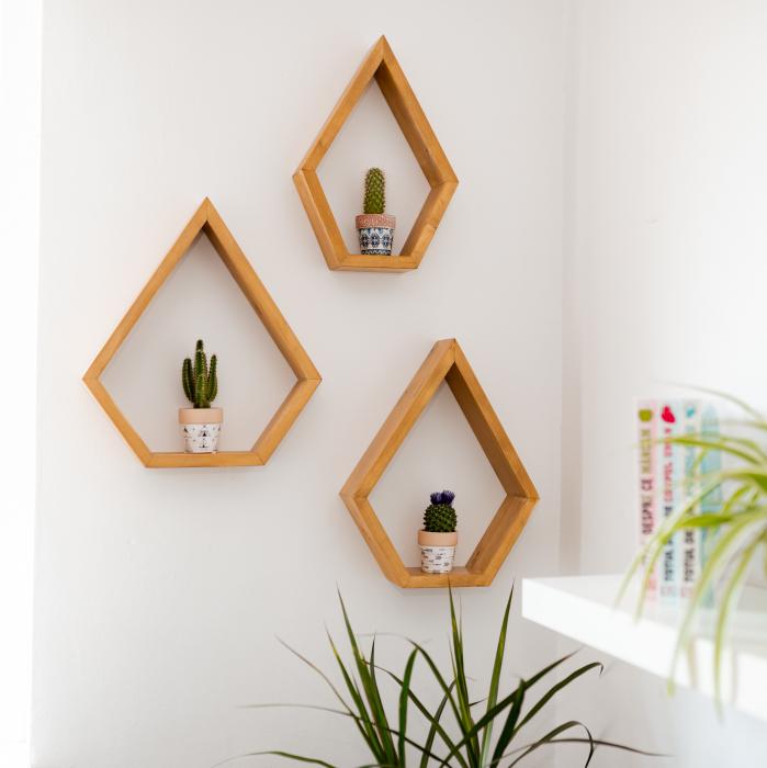 Set rafturi pentagonale pentru perete, lemn masiv [1]