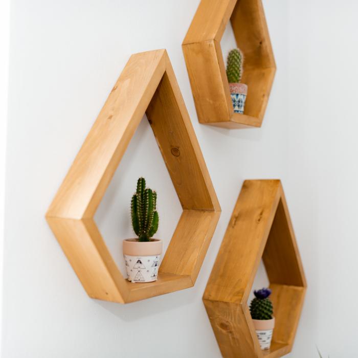 Set rafturi pentagonale pentru perete, lemn masiv [3]