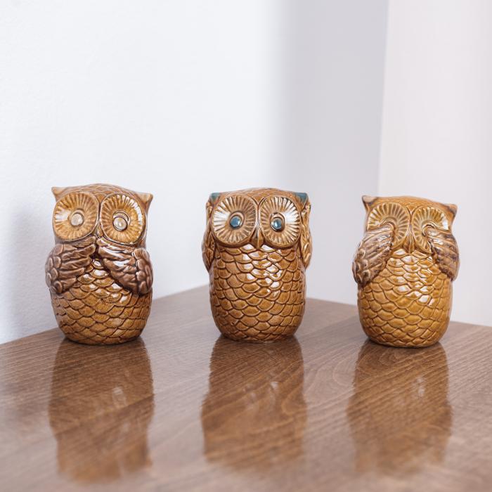 Set 3 bufnițe decorative din ceramică [0]