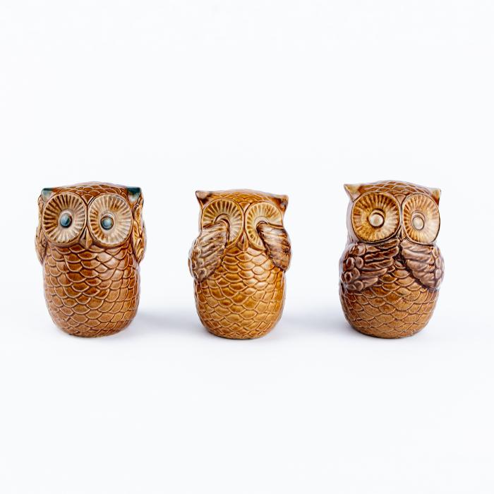 Set 3 bufnițe decorative din ceramică [2]