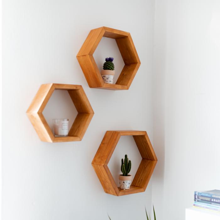 Set rafturi hexagonale pentru perete, lemn masiv [2]
