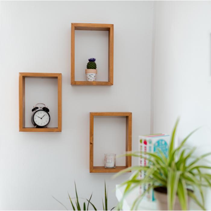 Set rafturi dreptunghiulare de perete, lemn masiv [1]