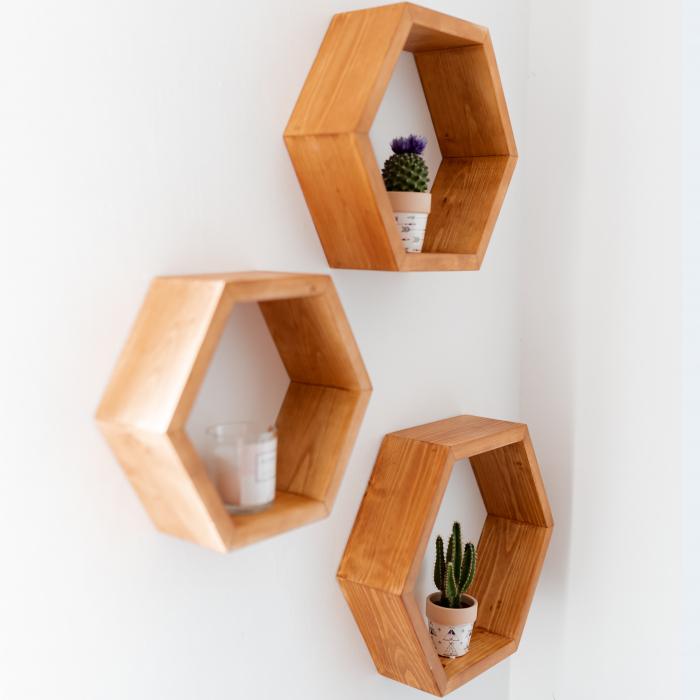Set rafturi hexagonale pentru perete, lemn masiv [3]