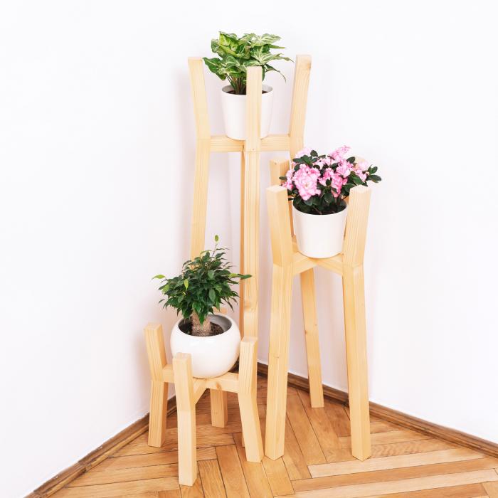 Set suporturi pentru flori din lemn masiv, tip stâlpi [2]