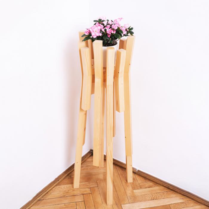 Set suporturi pentru flori din lemn masiv, tip stâlpi [5]