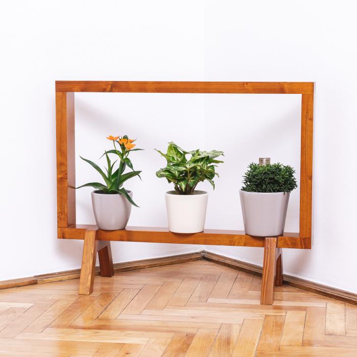 Suport din lemn masiv pentru flori, tip ramă [1]