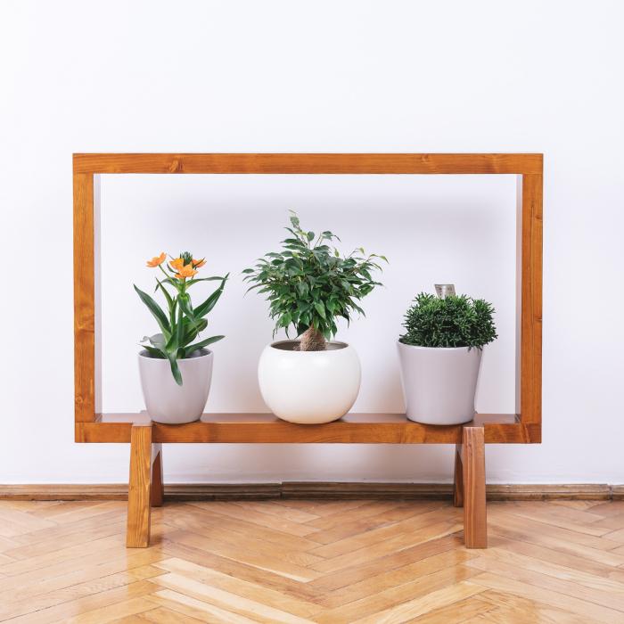 Suport din lemn masiv pentru flori, tip ramă [0]