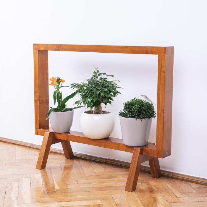 Suport din lemn masiv pentru flori, tip ramă [2]
