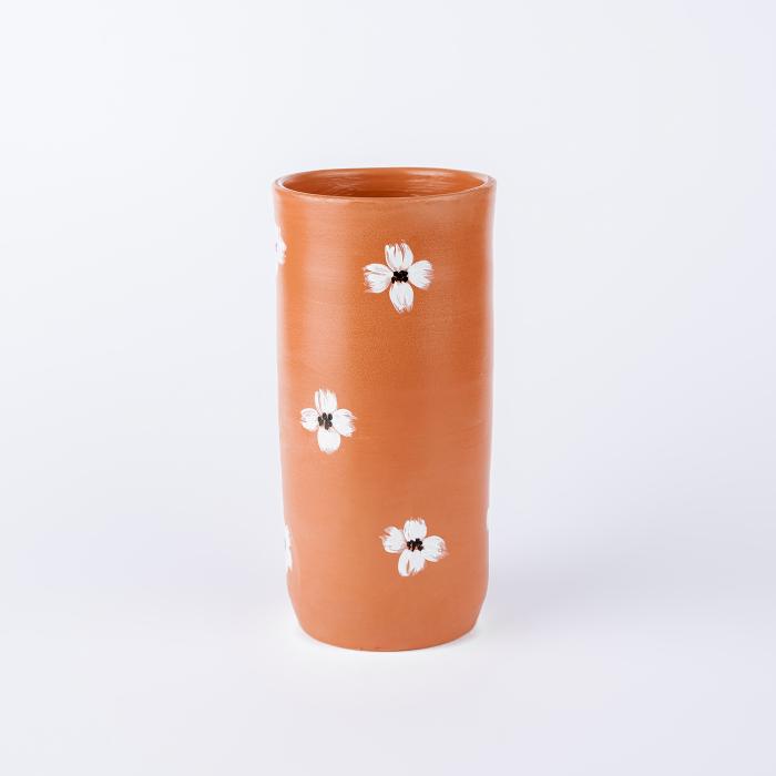 Vază lut pictată manual, motive florale [1]