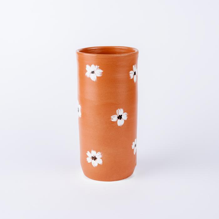 Vază lut pictată manual, motive florale [2]
