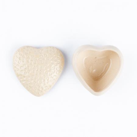 Cutiuță bijuterii din ceramică, inimă albă, detalii florale [3]