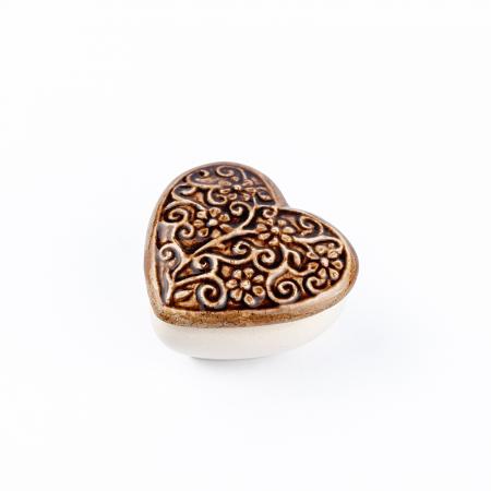 Cutiuță bijuterii din ceramică, inimă maro, detalii florale [2]