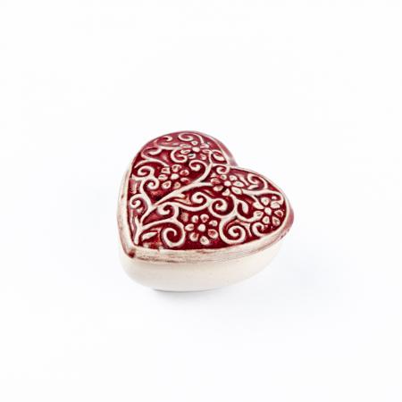 Cutiuță bijuterii din ceramică, inimă roșie, detalii florale [2]