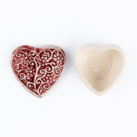 Cutiuță bijuterii din ceramică, inimă roșie, detalii florale [3]
