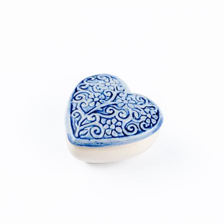 Cutiuță bijuterii din ceramică, inimă albastră, detalii florale [2]