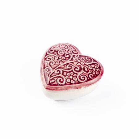 Cutiuță bijuterii din ceramică, inimă vișinie, detalii florale [1]