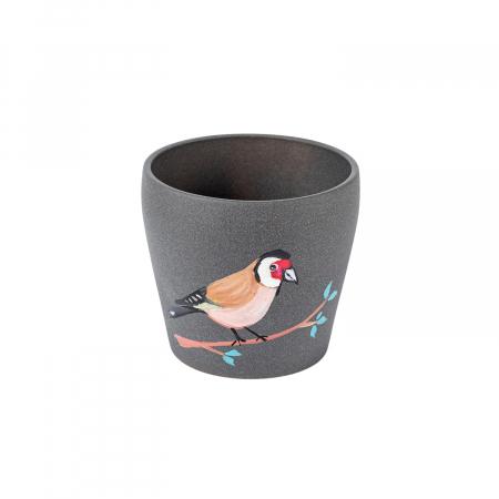 Ghiveci ceramică pictat manual, ilustrație pasăre [0]